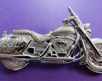 JJ Jonette Bright Silver Detailed Motorcycle Brooch Pin