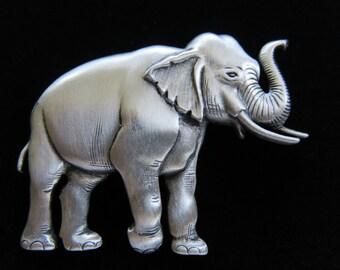 JJ Jonette Elephant With Trunk Up Brooch Pin