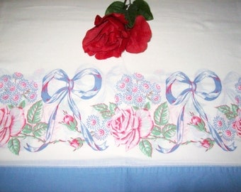VINTAGE PRINTED Blue and Pink Pillow Case Standard