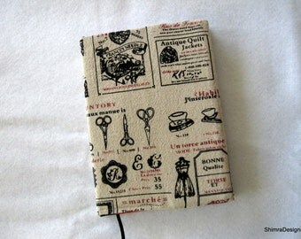 A5 Fabric Covered Notebook, Diary or Journal. Reusable. Linen Text Fabric. Back to School.