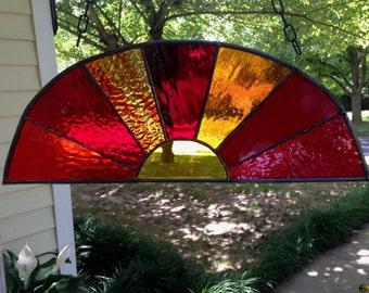 Sunset Stained Glass Window Panel Suncatcher 17x6 Dome