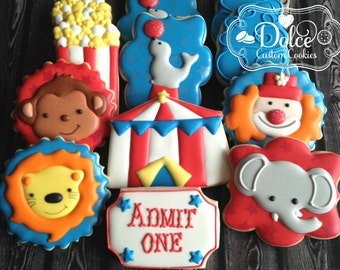 Circus Carnival Animal First Birthday Birthday Cookies