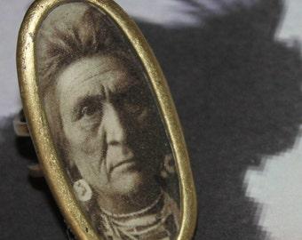 Indian Spirit guide Large rustic Antique gold adjustable ring