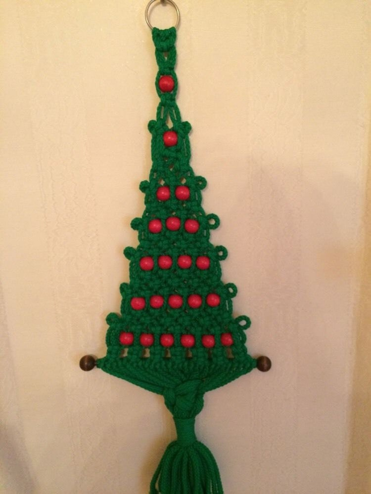 Vintage Macrame Hanging Christmas Tree W Red Balls Handmade