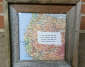 Framed Map with Inspirational Quote