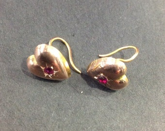 Edwardian 9ct gold ruby heart earrings