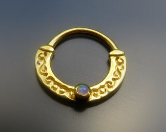 Opal Septum Ring Gold, Septum Nose Ring For Pierced Nose, Septum Piercing, 18g Nose Ring, Tribal Jewelry By Sagia
