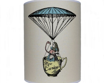 Alice and flamingo in a tea cup/ Alice in Wonderland/ lamp shade/ ceiling shade/ drum lampshade/ lighting