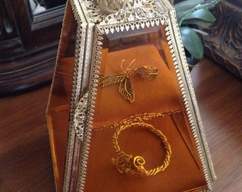 Heavenly Large Ormulu Amber Jewelry Casket