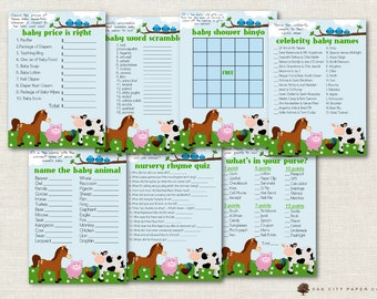 Farm Animal Baby Shower Games, Barnyard Animal Baby Shower Games, Farm Baby Shower Games, Barnyard Baby Shower, Farm Animal - Printable, DIY