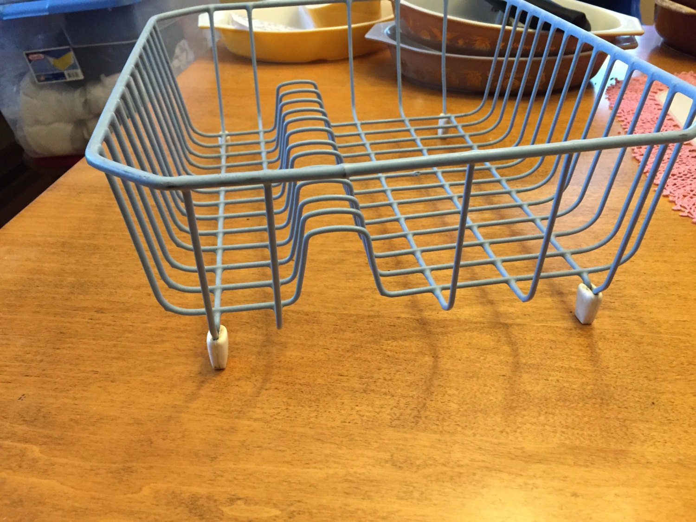 Vintage Baby Blue Dish Drainer Rack