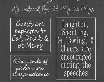 Wedding Rules - Digital file - Chalk Board- Wedding Sign