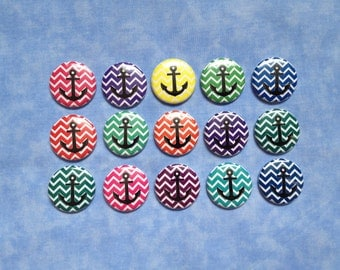 "Colorful Chevron Nautical Buttons, Anchor Buttons, Anchors, Sailor Buttons, 1"" Flatback Buttons, 15 Buttons Total"