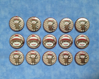 "Chevron Sock Monkeys, Sock Monkey Buttons, 1"" Flatback Buttons, 15 Buttons Total"