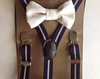 Boys maroon striped adjustable suspenders with linen bow tie