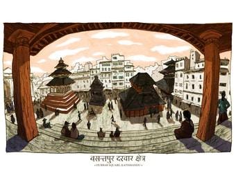 "NEPAL EARTHQUAKE RELIEF Charity Print - 15x9.5"" Durbar Square, Kathmandu City Illustration"