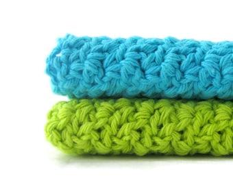 Cotton Crochet Washcloths,  Set of 2, Large Dishcloths, Ocean Blue and Green Apple