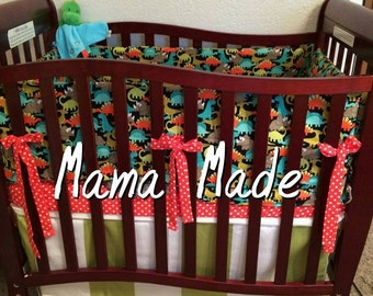 Dinosaur Mini Crib 4 piece Bedding Set