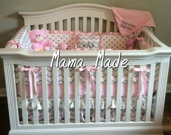 Pink and Gray Chevron crib bedding gray and pink