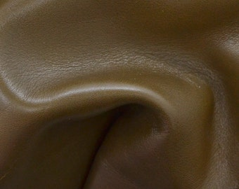 "Olive Brown Leather Cow Hide 8"" x 10"" Pre-cut 4 1/2 ounces grainy TA-26494 (Sec. 4,Shelf 6,B)"