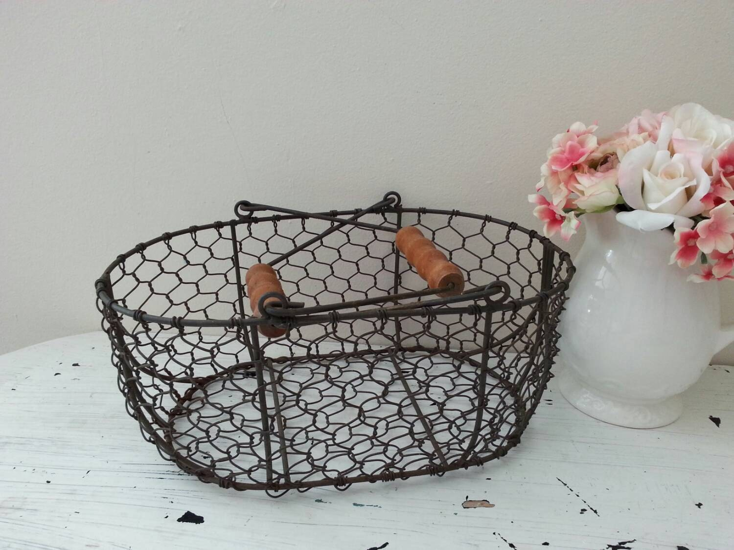 vintage french country farmhouse shabby chic wire basket