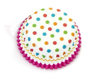 Colorful Polka Dot Hot Pink Lace Cupcake Liners (50)