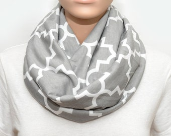 Gray Infinity Scarf with Quatrefoil  pattern