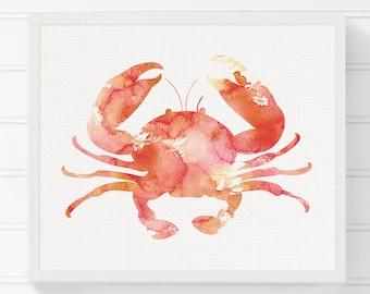Crab Art Print, Nautical Home Decor, Beach Art Print, Nursery Art Print, Watercolor Crab, Crab Painting, Crab Wall Art, Coastal Wall Decor
