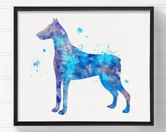 Watercolor Doberman, Doberman Art, Doberman Print, Doberman Painting, Watercolor Dog, Dog Wall Art, Dog Lover Gift, Doberman Pinscher