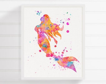 Watercolor Mermaid, Mermaid Art Print, Mermaid Painting, Girls Room Decor, Bathroom Decor, Nursery Wall Decor, Baby Shower Gift, Pink