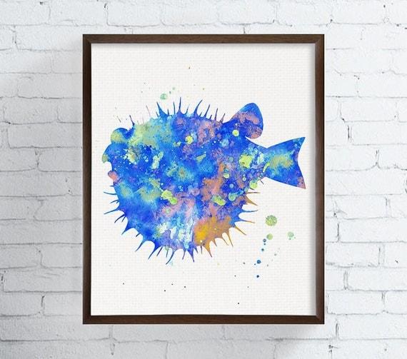 watercolor fish bathroom decor coastal wall art sea life. Black Bedroom Furniture Sets. Home Design Ideas