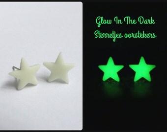 Cute party glow in the dark stud earrings ear studs heart or star glowing post earrings jewelry