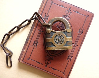 Antique Padlock by Yale and Towne, Vintage Solid Heavy Cast Brass Bronze Lock with Chain, Y & T Canada Hardware