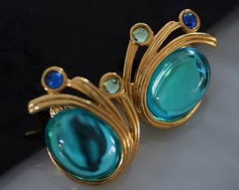 Brilliant Mid Century Aqua Earrings from Crown Trifari