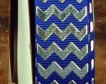 "2 Yards 7/8"" US Designer Royal Blue with Silver Foil Chevron Grosgrain Ribbon Print"