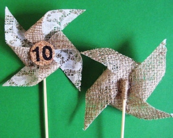 Wedding Table Numbers 1-20 Burlap pinwheel,rustic wedding table numbers, party.