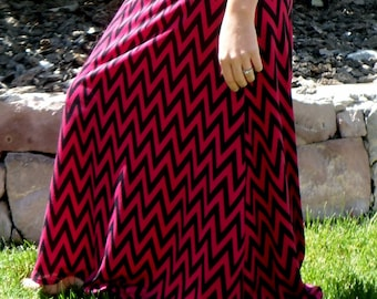 Women's XSmall pink and black chevron maxi skirt