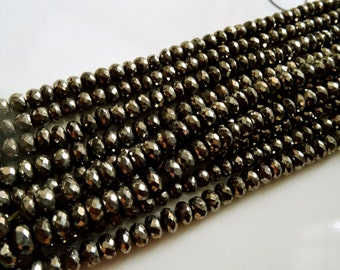 Pyrite 4-5  mm Natural Exceptional Pyrite Faceted Rondelle 8 inch Strand AAA+