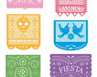 Papel Picado Clip Art Set-Paper Cut Clip Art, mexican folk art inspired, Cinco de Mayo, Dia de los Muertos, eps, png, jpeg, instant download