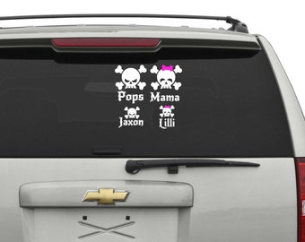 Personalized Skull Family Decals
