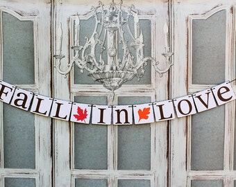 FALL IN LOVE Banner -Fall Wedding Signs - Autumn wedding signs