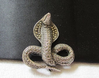 MAGNIFICENT art deco sterling marcasite cobra snake statement brooch Laurie collection FREE shipping USA