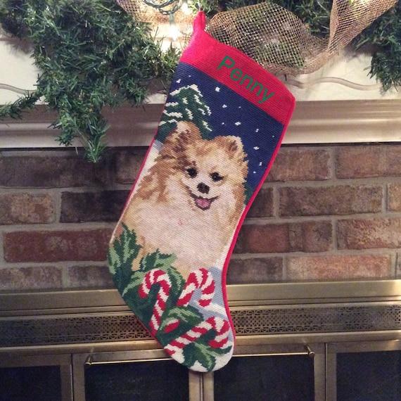 Pomeranian dog stocking personalized christmas stocking dog for Personalized dog christmas stocking