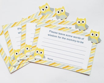 Owl Advice Cards for Neutral Baby Shower (12ct)