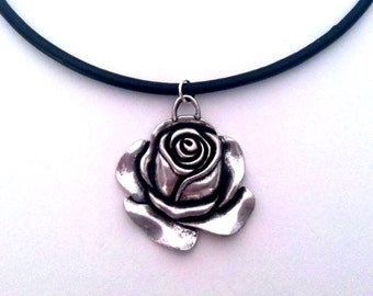 Gorgeous Silver Rose pendant on black leather choker grunge