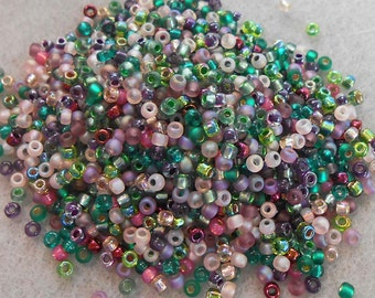 8/0 Miyuki Seed Bead Mix, 25 grams, Greens/Rose/Teal/Amethyst colors (0017)