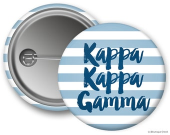 KKG Kappa Kappa Gamma Stripe Sorority Greek Button