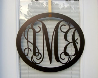 Three letter Initial wreath, Front Door Wreaths, Monogrammed Wreath, Monogram Wall Letter, Monogrammed gifts, Wedding Gift, Gifts for her