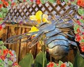 Bee metal art sculpture medium size for the garden, insect garden art, 3D sculpture, made in the USA