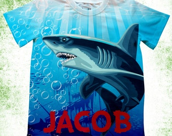 Personalized shark T-shirt, Boys birthday shark theme shirt, Shark Birthday bodysuit, Toddler Shark T-shirt, Customized bodysuit,